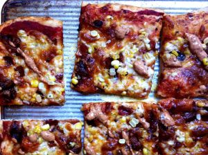 Bacon Corn Pizza with Chipotle Cream